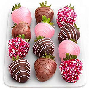 assortment of pink and chocolate covered strawberries