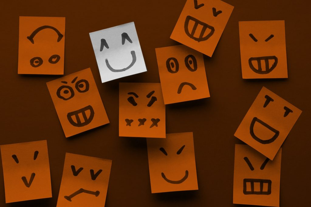 sticky notes with happy positive faces