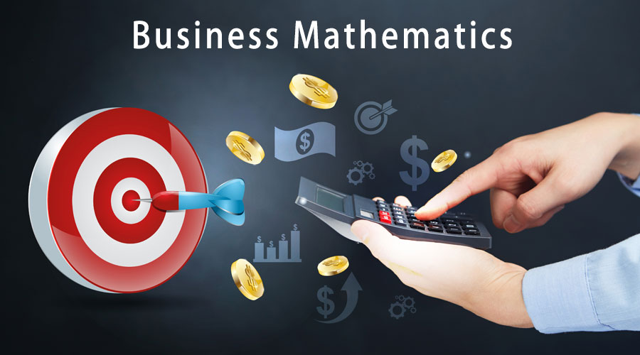 money with a target and a calculator, with the title business mathematics written on top