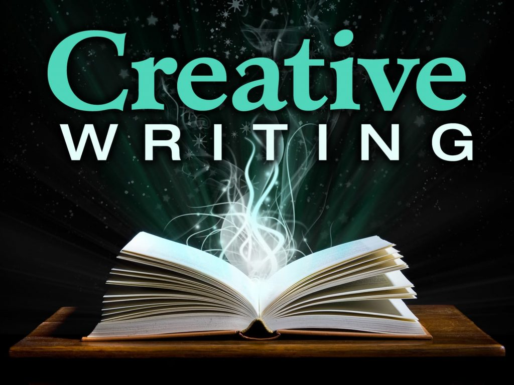 An open book with the words Creative WRITING written above it.