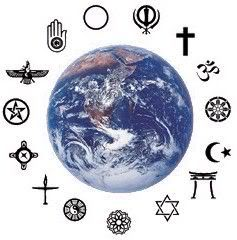 The world surrounded by symbols from different religions