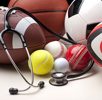 various sports balls and medicine equipment