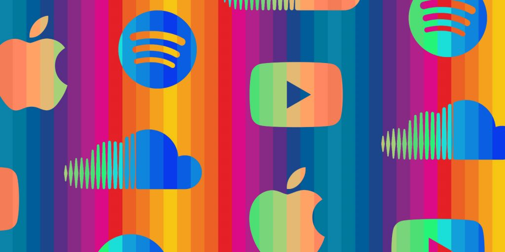 the different types of streaming apps in a colourful graphic design illustration