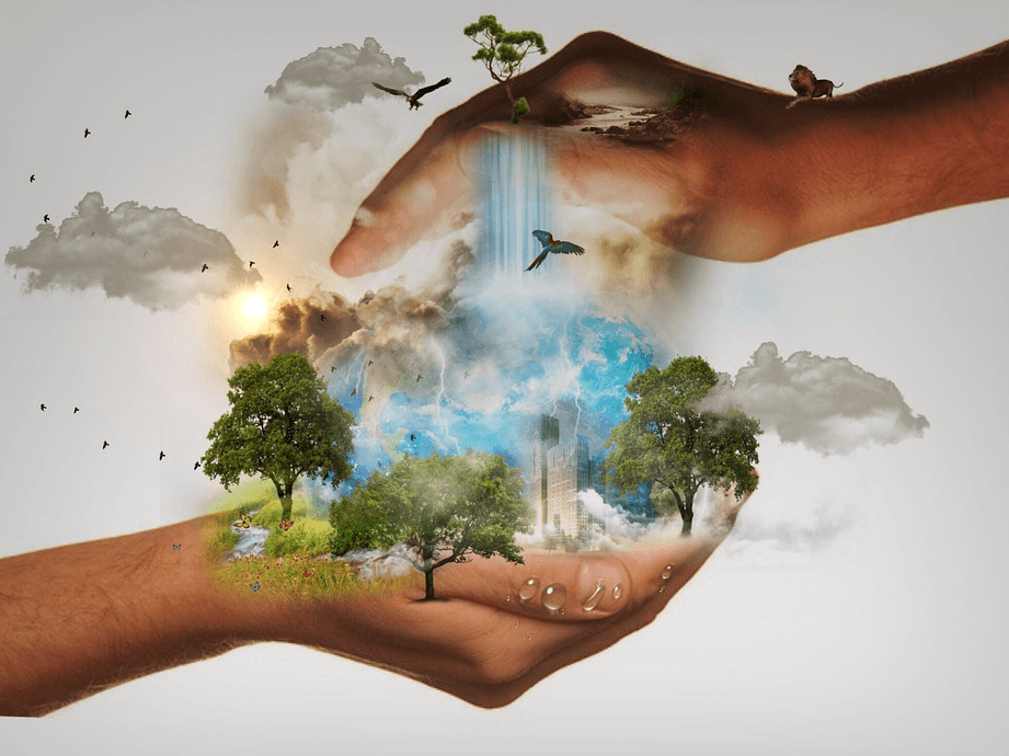 a digital art concept of the world on the hands of man