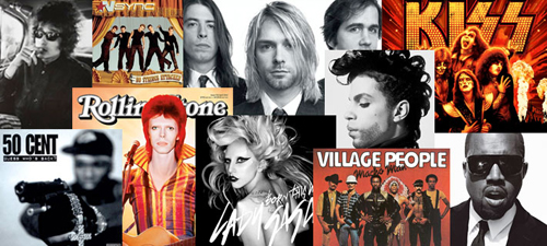 A collage of different popular western music artists and groups.