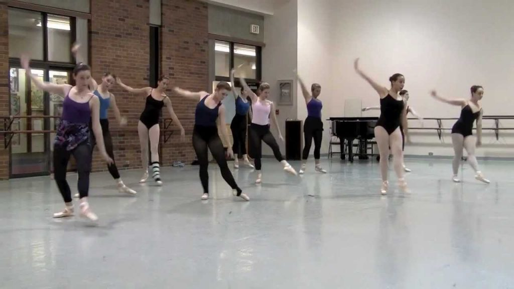 Dance class routine at Mercyhurst University.