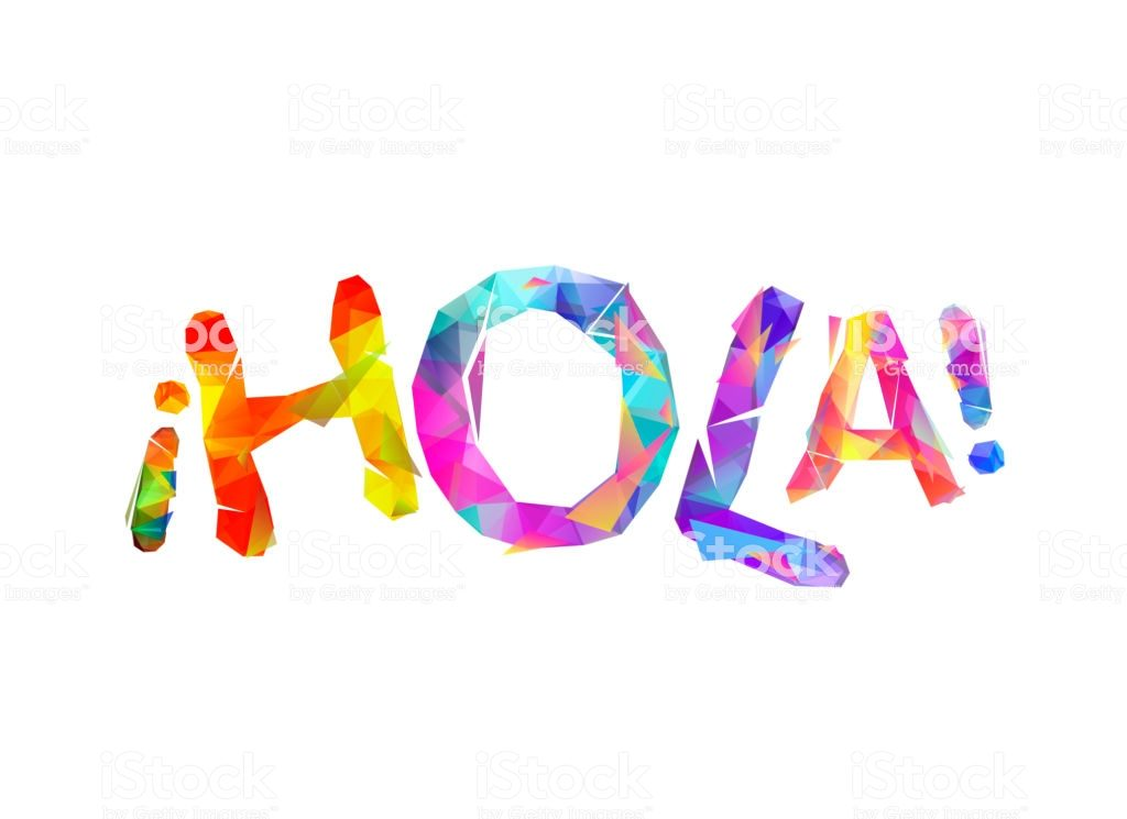 the word HOLA written in colorful characters