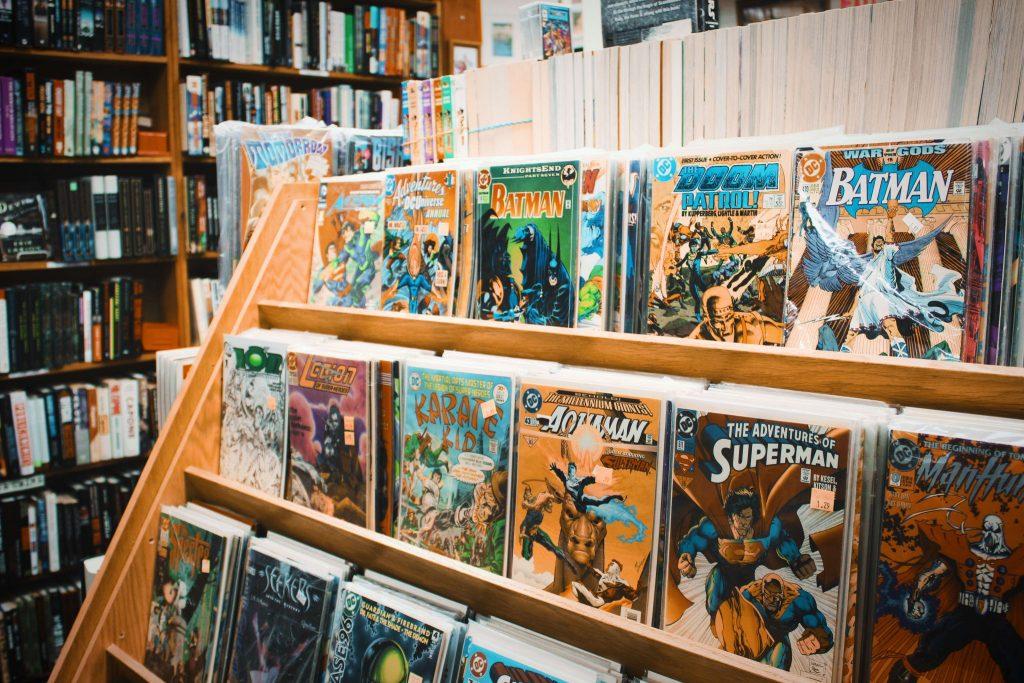 Assorted comic books on a shelf in a store