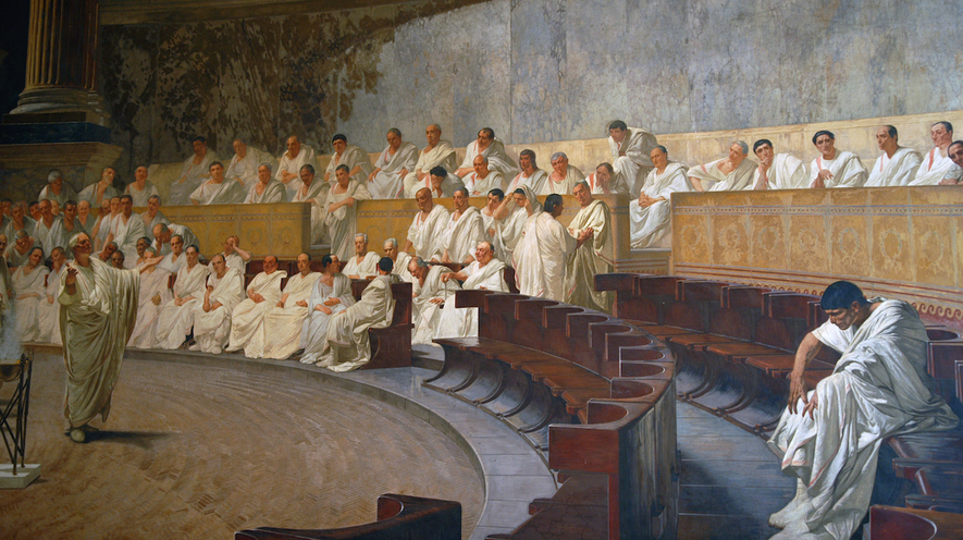 A man creating Law and Order in a courtroom during the Roman Republic era.