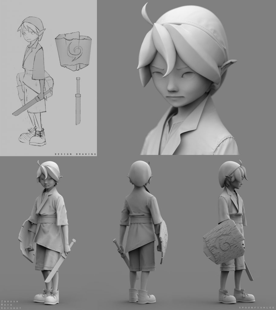 The character development of Link in steps and a grey color.