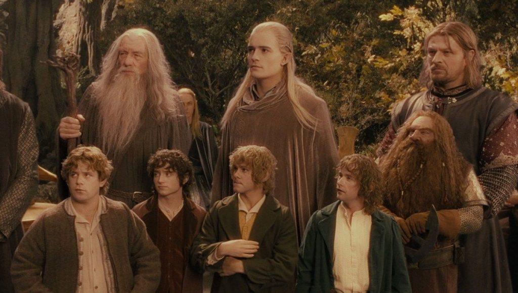 Screen still from Lord of the Rings featuring the fellowshio