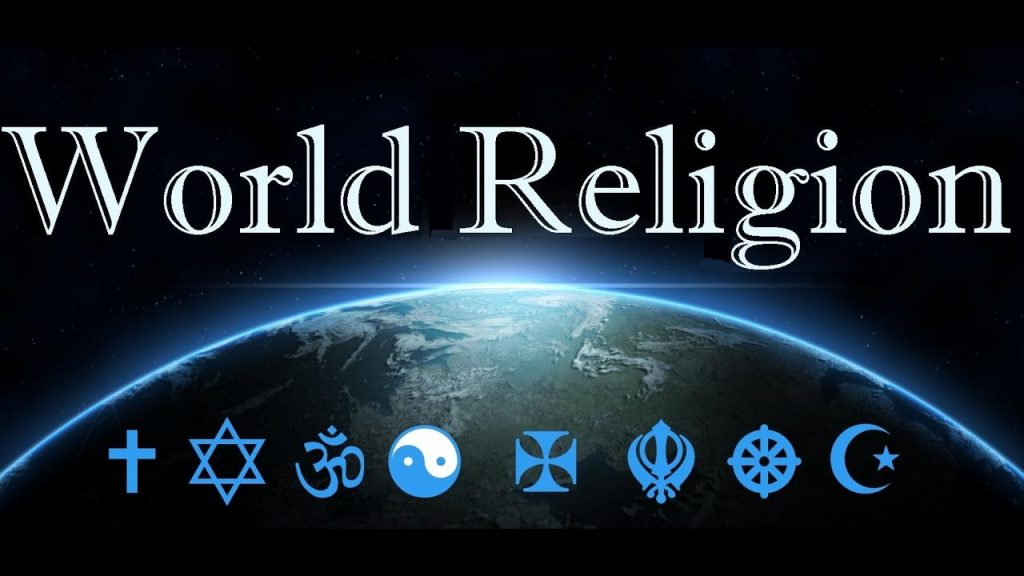 A poster written World Religion with symbols of various religions of the world
