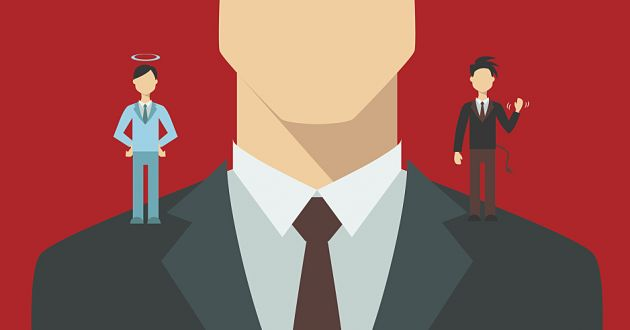 cartoon of business man with devil and angel on shoulder