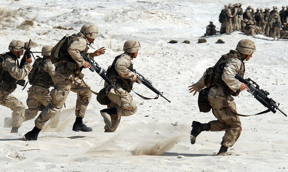 rangers running on the desert
