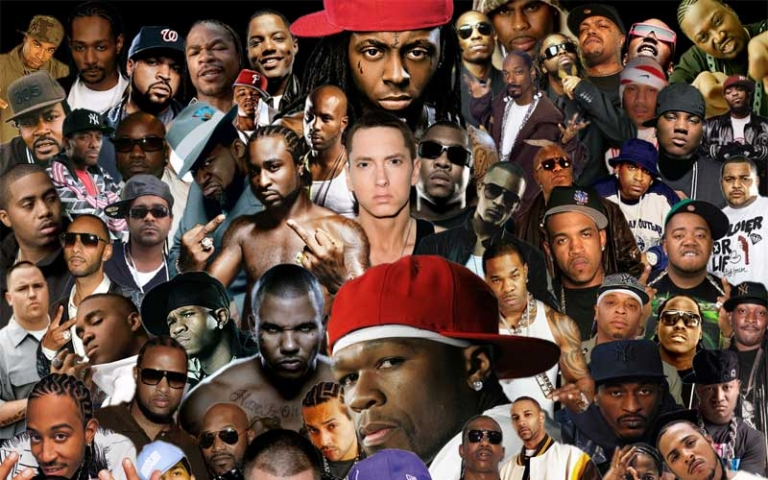 A collage of famous rap and hip-hop artists.