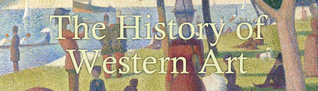 "A title of ""The History of Western Art"" with a famous painting in the background."