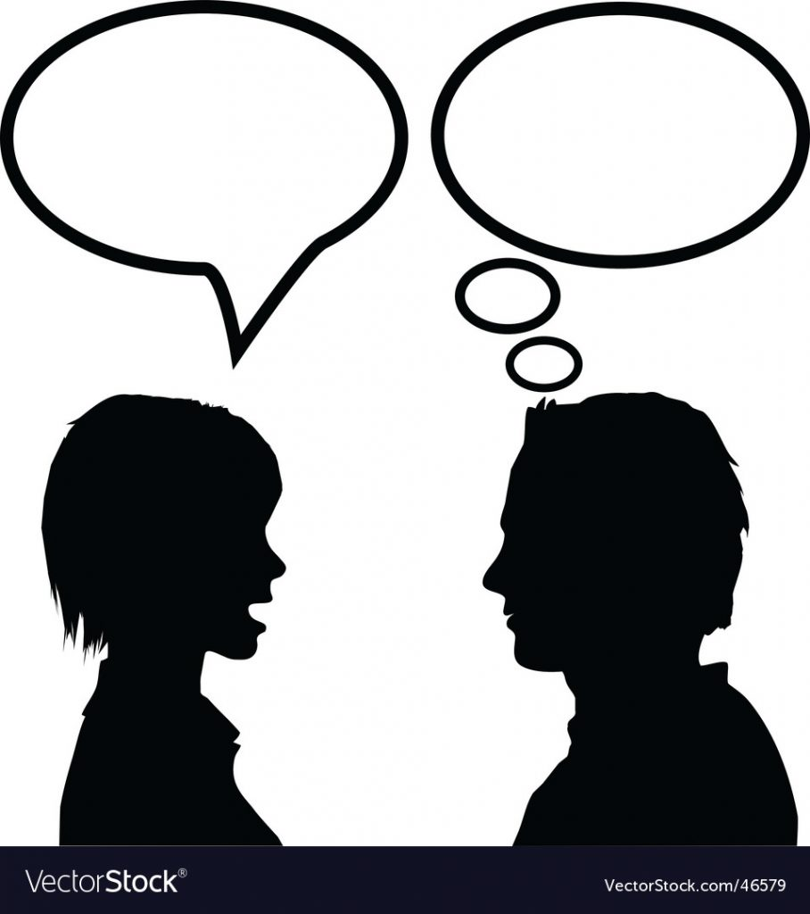 A silhouette of two people talking as depicted by their speech bubbles.