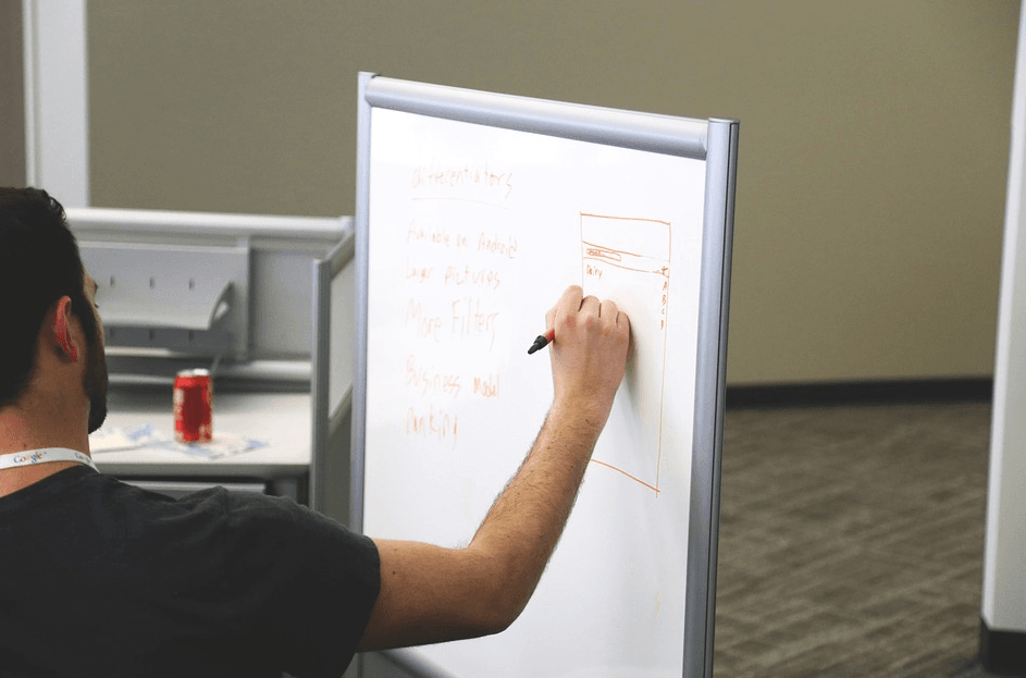 team leader writing concept on white board