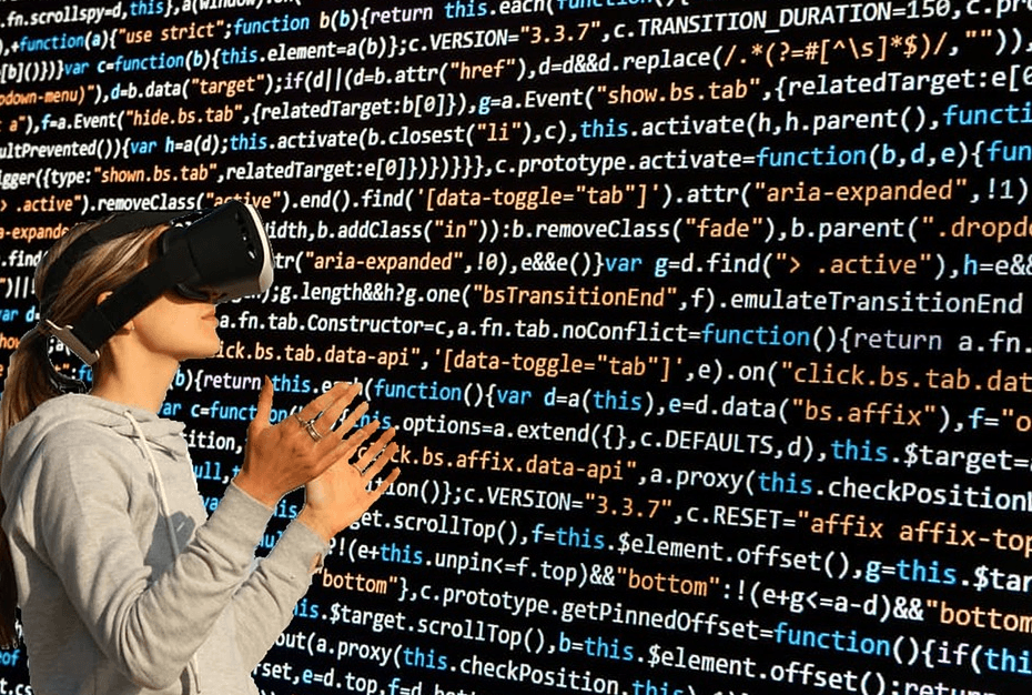 woman wearing 3D gear with computer codes on the background