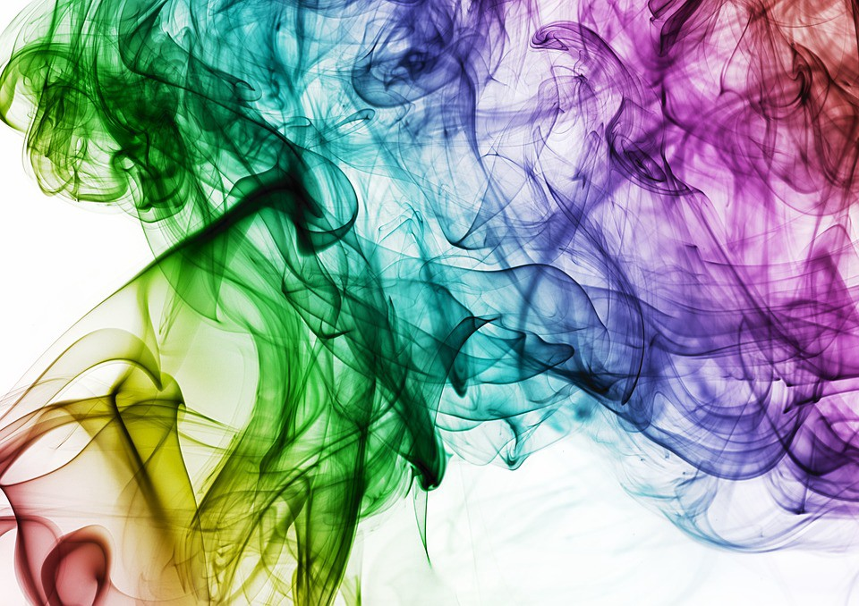 A combination of different colors forming a smoke-like image