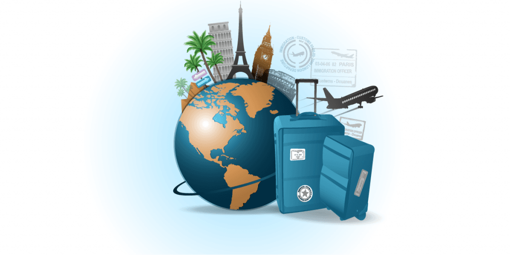 a globe with a suit case and different tourist destinations around the world represented in a cartoon