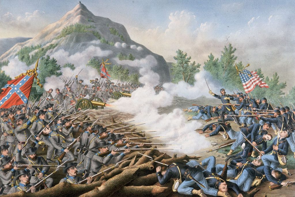 A representation of the Civil War battles between the North and the South.