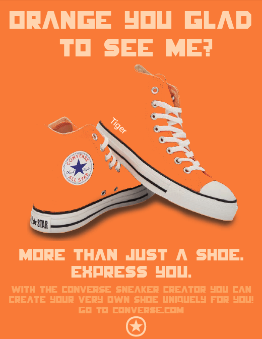 an ad for a orange converse shoe