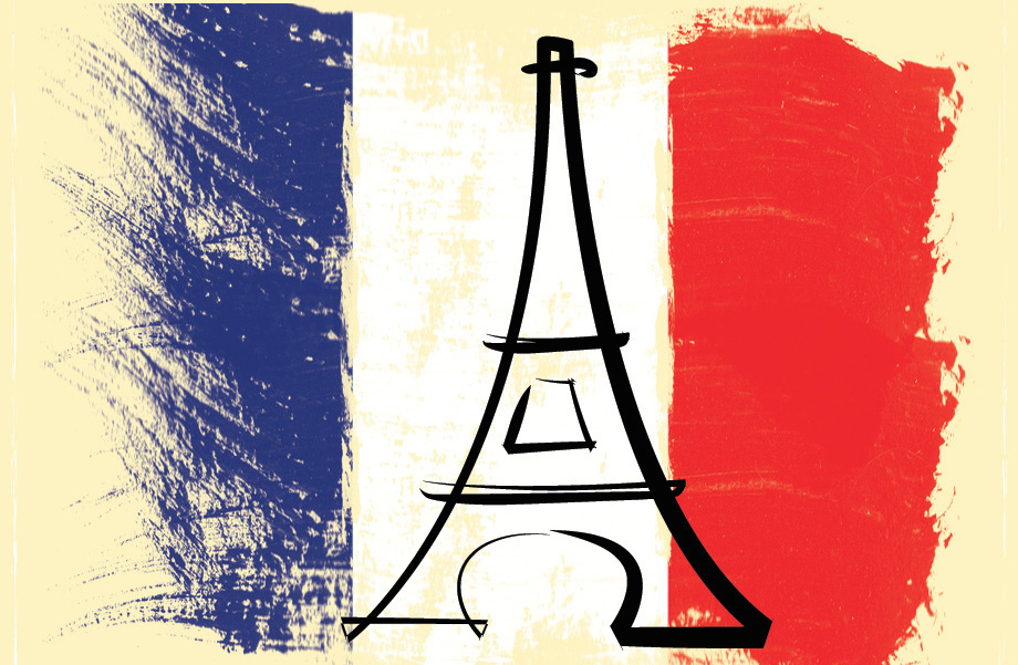 A drawing of the Eiffel tower on the French flag