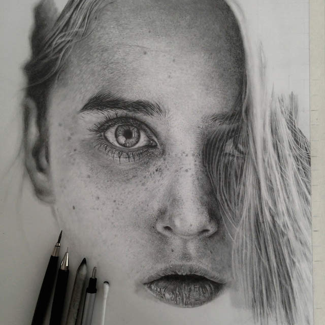 A portrait image of a girl's face