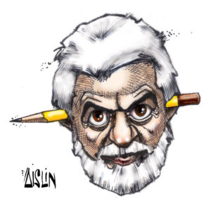 A cartoon drawing of a man's face with a pencil running through his ears