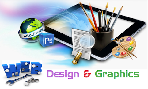 """A poster with a tablet, a cup with paint brushes, paint board and the words """"WEB Design and Graphics"""""""