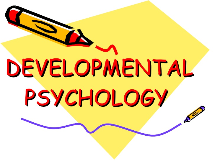 A poster written Developmental Psychology with crayons in cartoon illustrations
