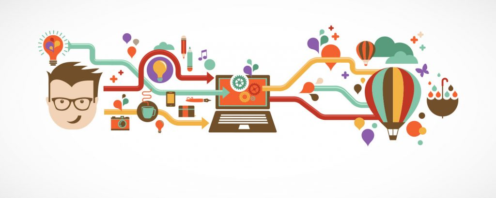 Different forms of knowledge and pictures all leading to a cartoon of a laptop.