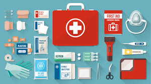 cartoon of the various tools in a first aid kit such as gloves and bandaids