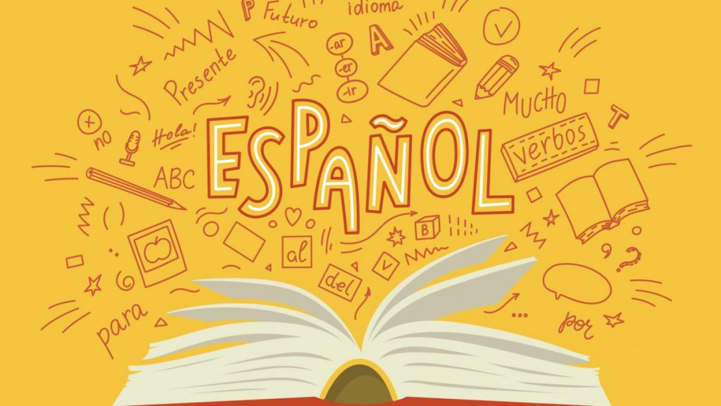 A book in front of a yellow background written ESPANOL in funky graphic illustration writing