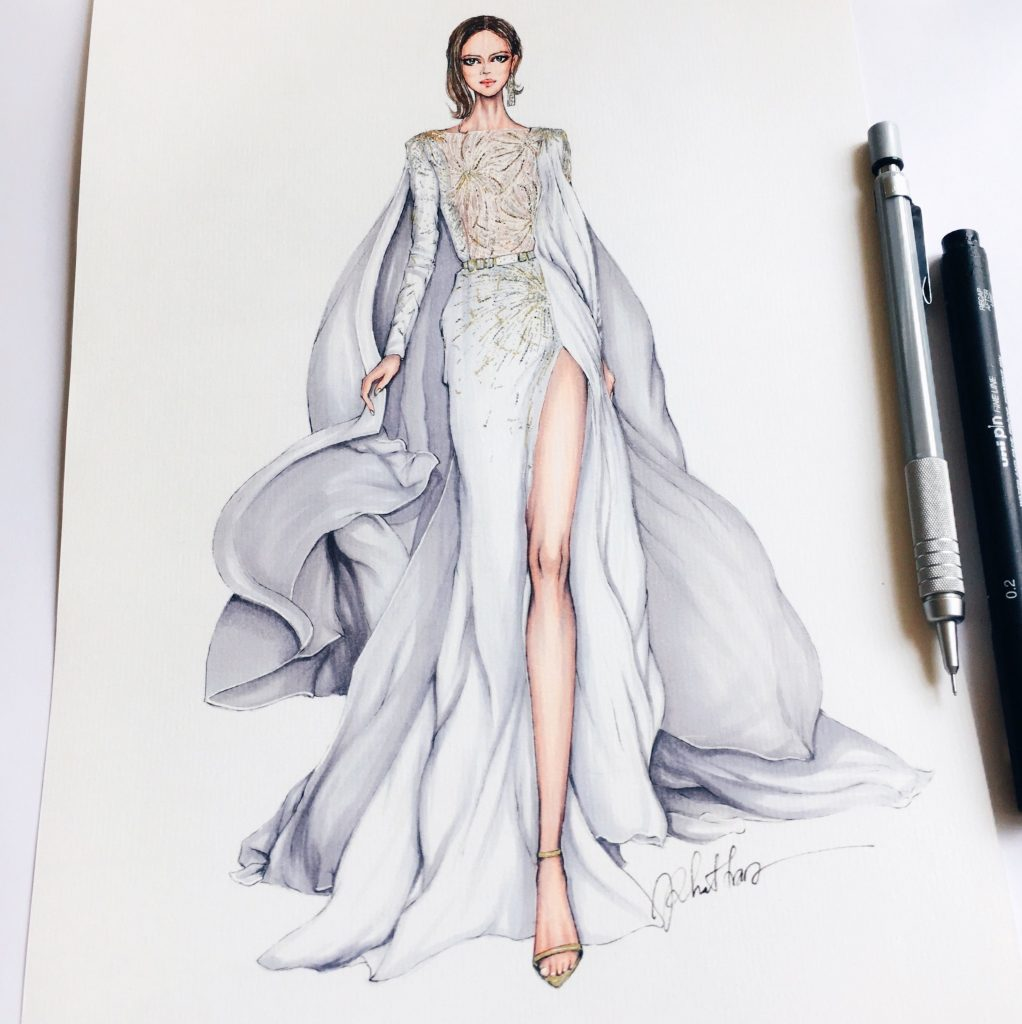 A sketch of a fashion design drawn on a piece of paper