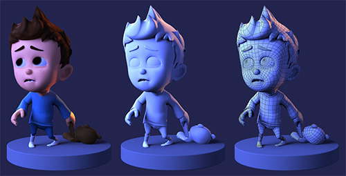 A 3-D model of an animation character