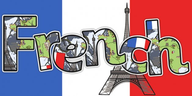 """The word """"French"""" written on a background of the French flag and the Eiffel tower"""