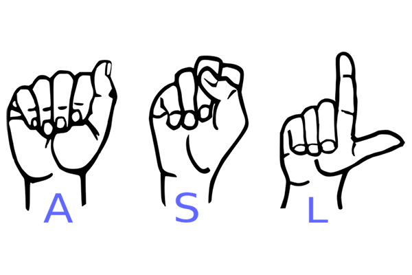 Human hands making hand signs for ASL