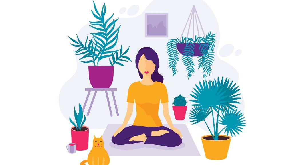 a woman by plants in a meditative state in a cartoon