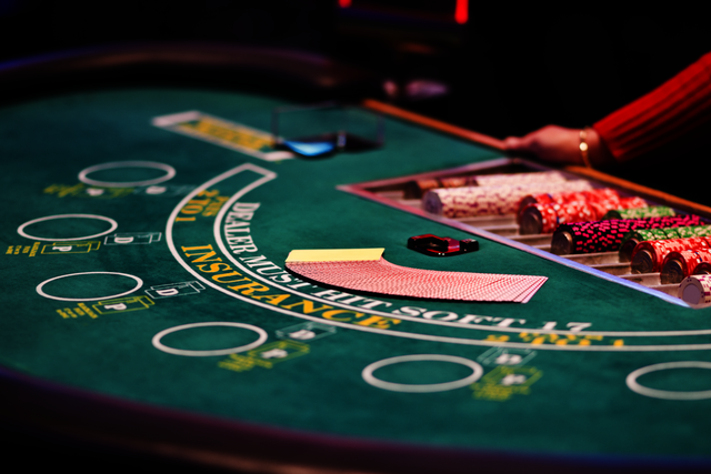 a casino table with cards