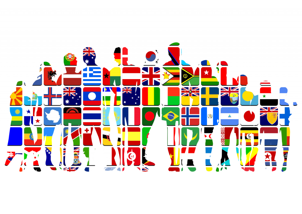 silhouettes of people made up of flags from different countries