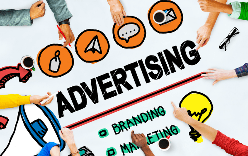 picture of advertising on the background iwht icons, and hands reaching out like at a business meeting
