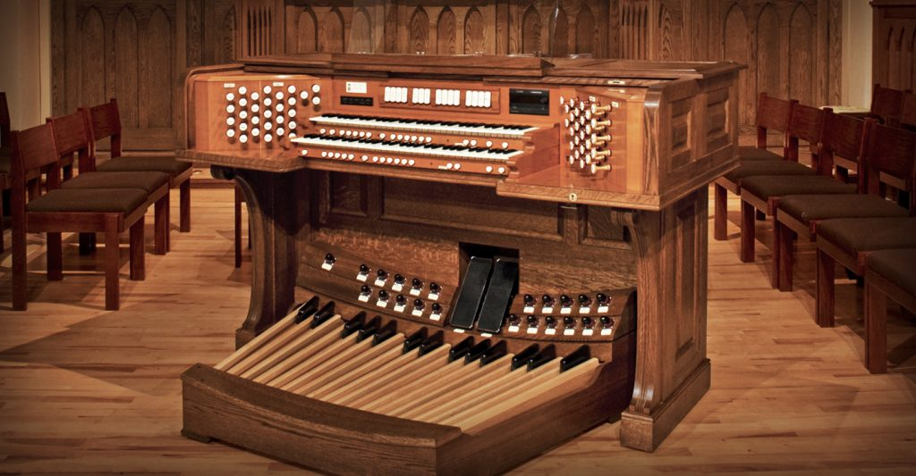 organ instrument in the middle of a room