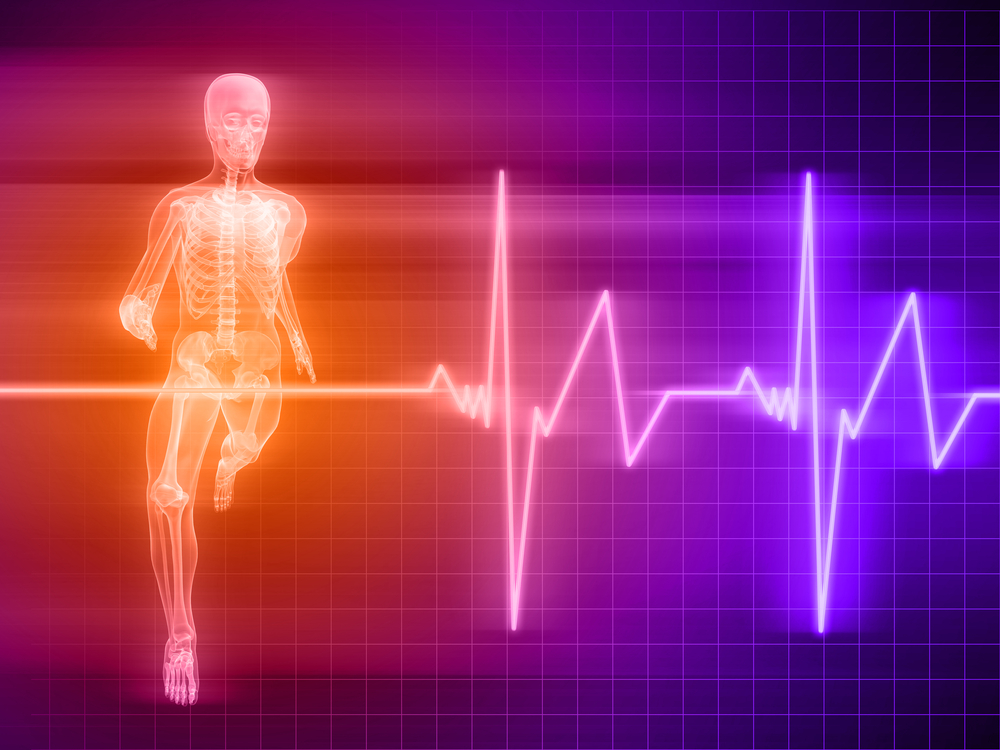 x-ray of runner, heart rate ekg shown next to depiction of runner