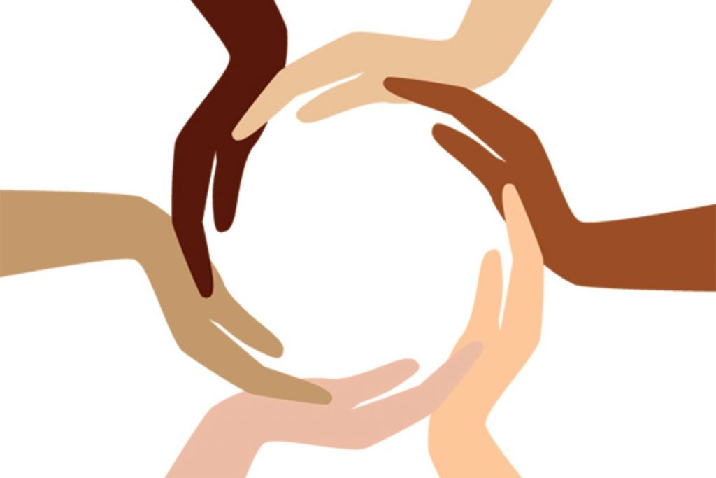 cartoon of multicultural hands with one common goal