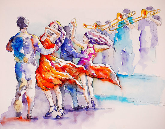 watercolor painting of people salsa dancing
