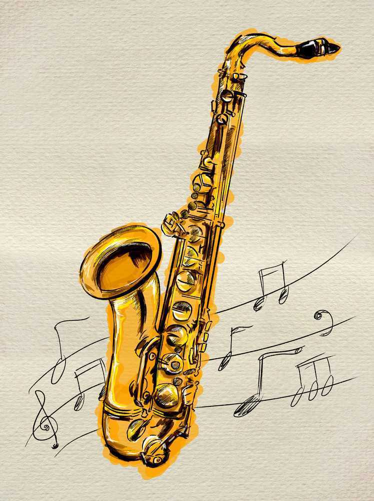 illustration of a saxophone surrounded by flying music notes.