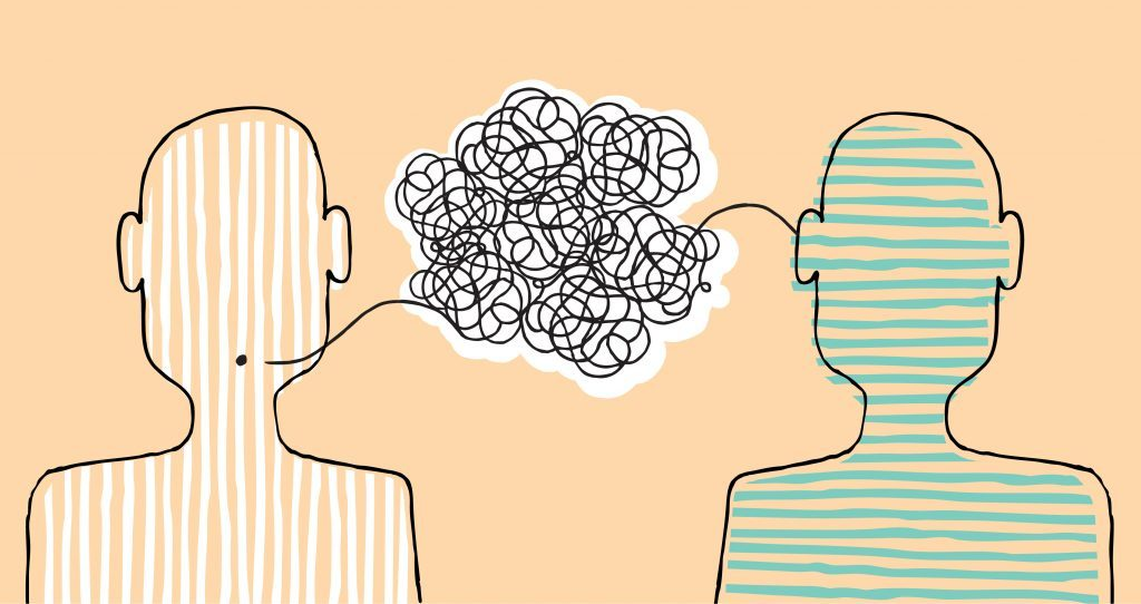 Two people not understanding each other illustrated in a cartoon. Information coming from one person's mouth creates a cloud of tangled information that goes into someone's ear.