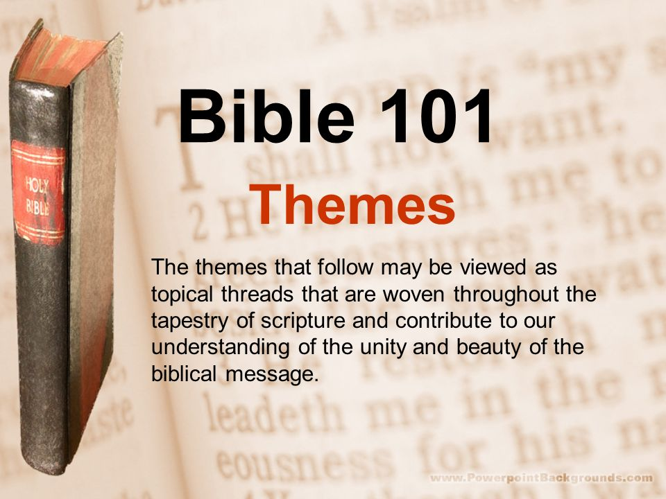 A presentation slide that has a closed Bible with words written beside it